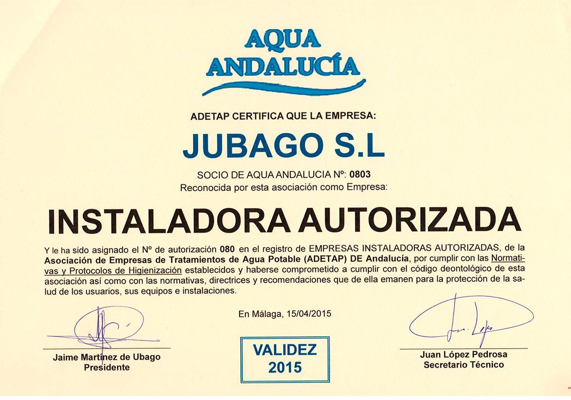 certificado aqua andalucia